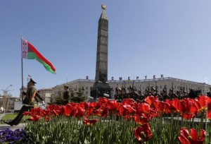 Honour guards march at Victory Square during a Victory Day celebration in Minsk