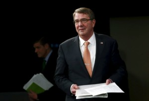 U.S. Defense Secretary Carter arrives at a media briefing at the Pentagon in Washington