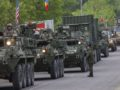 epa05288033 US armoured vehicles arrived in Moldova at the crossing point Sculeni, 135 kilometers East of Chisinau, Moldova, 03 May 2016. US soldiers and engineers are arriving in Moldova to take part in 'Pioneer Dragon 2016' joint military exercise with the Moldovian national army, held for the first time in Moldova, between 03 to 20 May 2016.  EPA/DUMITRU DORU