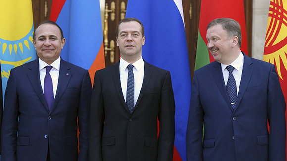 Russian Prime Minister Medvedev and his counterparts Abrahamyan from Armenia and Andrey Kobyakov from Belarus attend meeting of Eurasian Intergovernmental Council outside Moscow